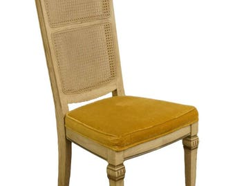 STANLEY FURNITURE French Provincial Antique White Cane Back Dining Side Chair 2144-151