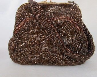 Copper Beaded Purse, Copper Beaded Charlet Evening Bag, Copper Beaded Purse, Copper Beaded Evening Bag