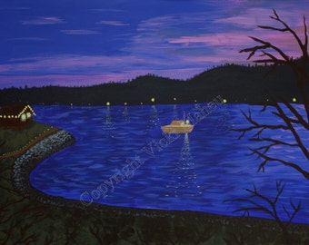 "Water Scene // Landscape Painting // Seascape // boating // Original Painting // ""Dusk on Puget Sound"""