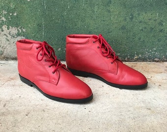 Vintage Red Danexx Leather Ankle Boots | US Women's 8.5