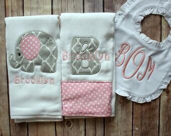 Monogrammed Baby Girl Gift, Baby Shower Gift, Monogrammed Girl Burp Cloth, Burp Cloth Bib Set, Elephant Baby Gift, Elephant Baby Girl, Baby