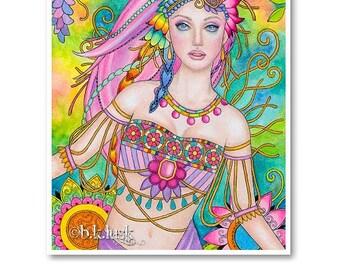 Signed 8 x 10 Print La Zhingara Art Pink Nouveau Goddess Diva Mother Nature B. K . Lusk