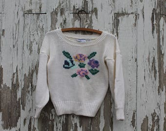1980s three quarter sleeve knit crop sweater, white with pink, purple, blue roses on front, baggy sleeve, medium, drop shoulder, korea