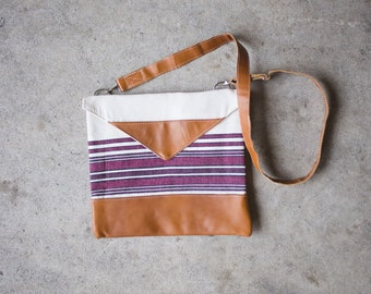 Natural Leather Maroon Cross-Body Purse