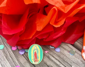 Virgin Mary, Virgen de Guadalupe Pins, Soft Enamel Pin, Mexican, Icon, Saint, Mexico, Gift, Lapel, Jewelry, Art, Baptism gifts