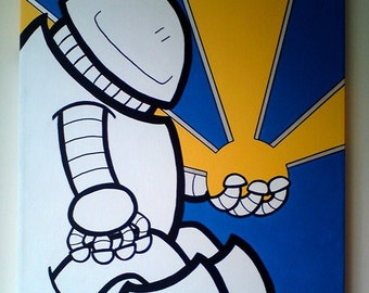 Acrylic Painting On Canvas - Original - Robot and the Sun