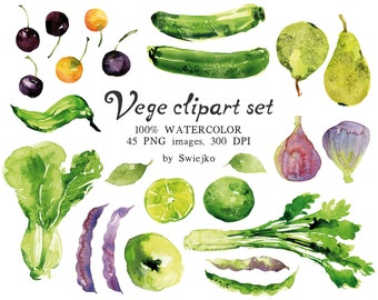 Watercolor Fruits and veggies, hand painted vege clipart