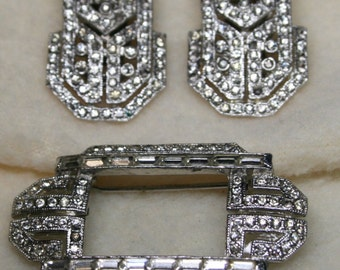Vintage 1930s Art Deco CORO Fur Clip Duette - Dazzling Paste Rhinestones - A Stunning SIGNED Piece of History