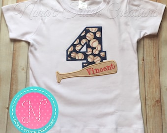 Baseball Bat personalized Embroidered BIRTHDAY SHIRT
