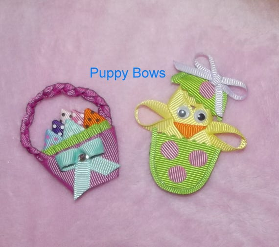 Puppy Bows ~ Easter dog bow chick in egg basket barrette or bands  (fb26)
