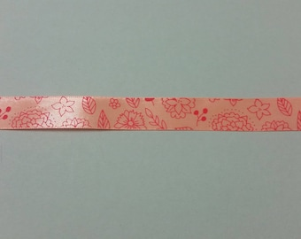 Satin Ribbon - Floral - 20 mm - salmon