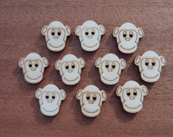 Wooden Monkey Buttons (pack of 5 or 10)