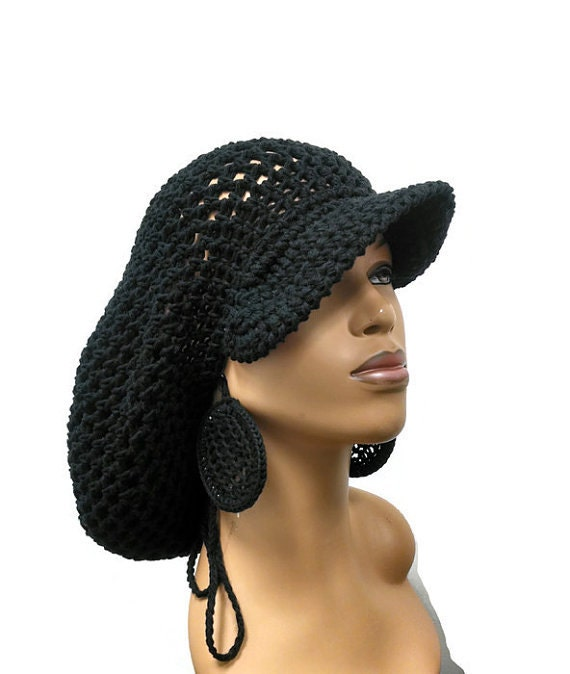 Pattern Only Brimmed Crochet Slouch Hat Dreadlock Hat With