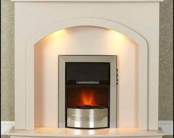 Malacrino Denton Cream Electric Fireplace With Downlights