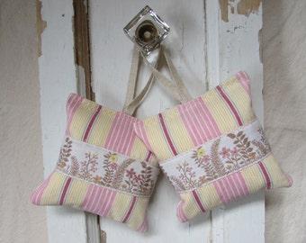 2 Vintage Pink French Ticking & Floral Ribbon Lavender Sachet Hanger - Bowl Filler - Drawer Scent - Ready to Ship