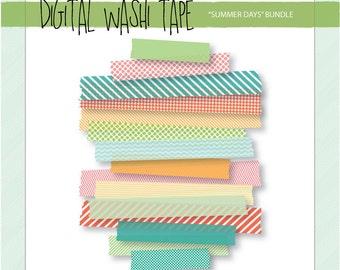 Digital Washi Tape - Summer Days - 15 Assorted Patterns & Sizes