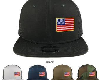 Small Yellow Side American Flag Patch Snapback Trucker Cap (NE403-11A)