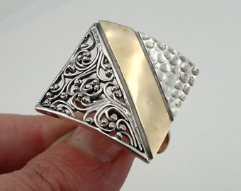 Breathtaking New Design Sterling Silver and 9K Gold filigree ring size 8 (r1165)
