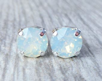 Swarovski Stud Earrings, White Opal Crystal Rhinestone Stud Earrings, Post Earrings, Silver Round Crystal Studs, Bridesmaid Gifts, Gift