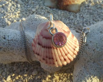 Sterling Silver / Necklace / Birthstone / Charm Seashell / Nautical Jewelry