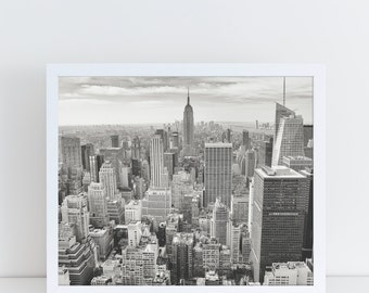 New York City Print, Printable Poster Landscape, Large Wall Art, Modern and Minimalist, City Poster, City Print, Black and White Photography