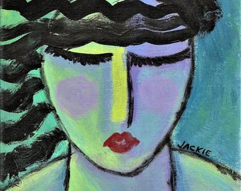 Woman with Black Hair Hand Painted Ceramic Art Tile