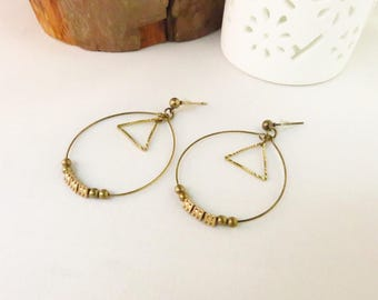 Creole earrings graphic brass and metal triangle
