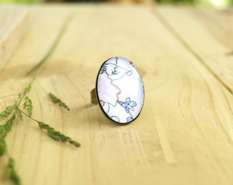 Pink floral watercolor oval ring, vintage glass tile ring, bronze colored metal jewelry