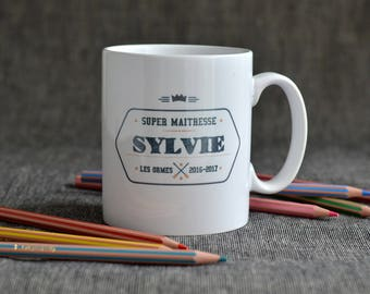 "Mug ""Super teacher"" personalized with name of teacher on the front and back - gift for teacher student, master."