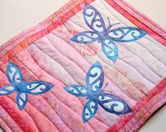 Iridescent Butterflies Batik Wall Hanging / Art Quilt, Pattern or Kit, Handmade by PingWynny