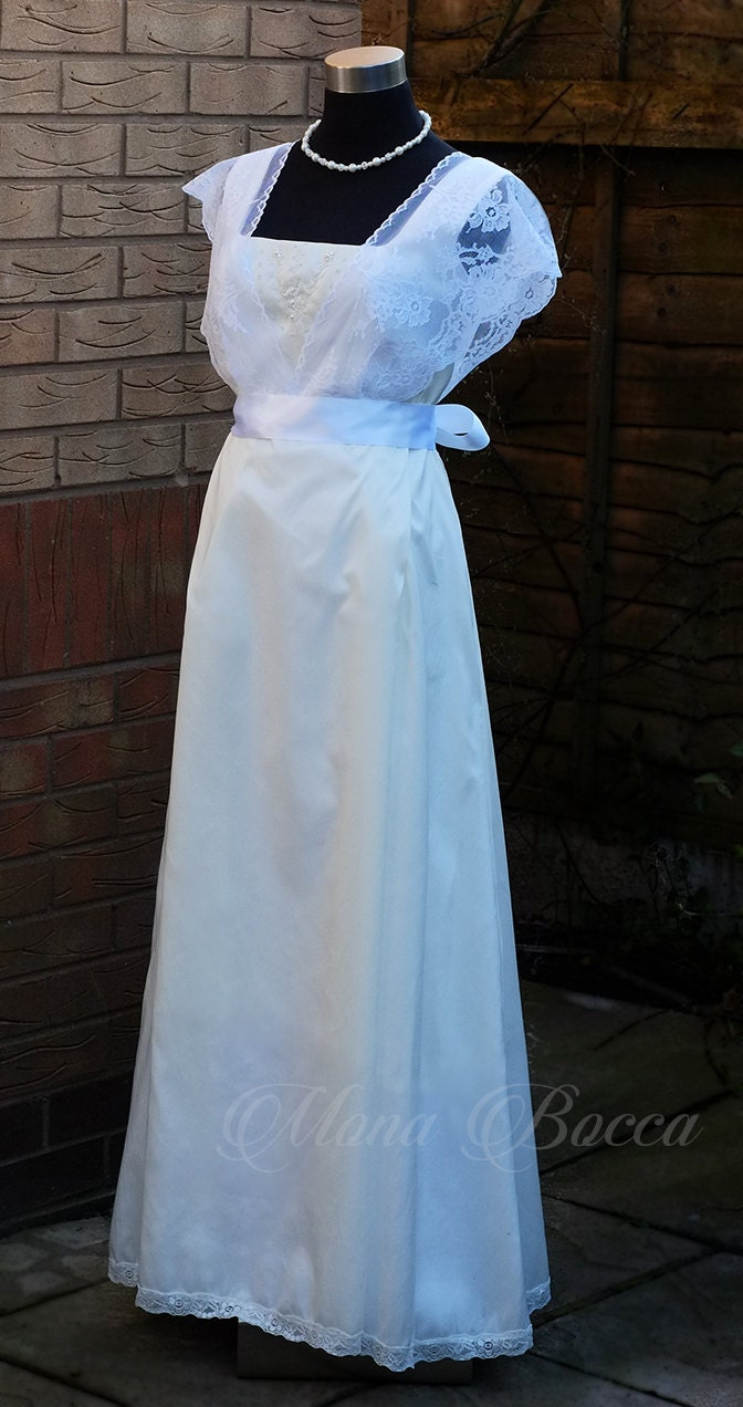 Ivory white Edwardian styled wedding dress Downton Abbey