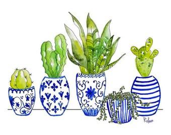 Cactus Watercolor Art Print-Succulents-Succulent Print-Cactus Decor-Watercolor Painting-Watercolor Print-Cactus Wall Art-Cactus Print