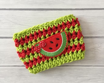 Watermelon, coffee cozy, cup cozy, coffee cup cozy, crochet coffee cozy, crochet cup cozy, tea cozy, cup holder, mug cozy, watermelon cozy