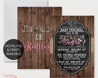 Rifles or Ruffles Gender Reveal Invitation, Printable Party Invitation | 5x7 | Print at home | Gender Reveal | Digital File