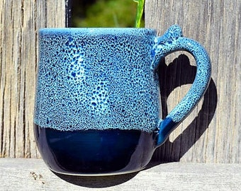 Winter Wonderland Frosty Blue Handmade Stoneware Mug, Wheel Thrown Pottery