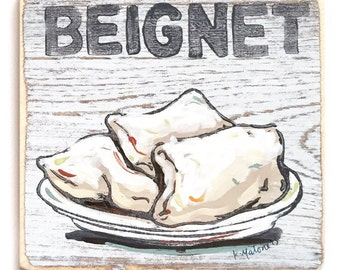 Beignet: Wood Sign, New Orleans Art, Cafe du Monde, New Orleans Food, New Orleans Gift, Collectible Art, French Quarter, Donut