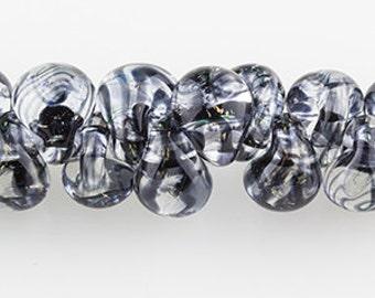 10 Black Smoke Handmade Teardrop Lampwork Beads - 11mm (2802)