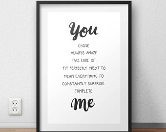 """Digital Print """"You And Me"""" Printable Wall Art Typography Hand Lettering PDF Download"""