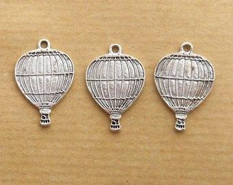 lot 3 vintage steampunk balloon 25mm silver charm
