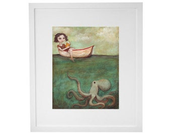 "Octopus Art Print - ""Maggie and the Octopus"" painting - bookworm gifts for your reading nook or bathroom wall art nautical decor"
