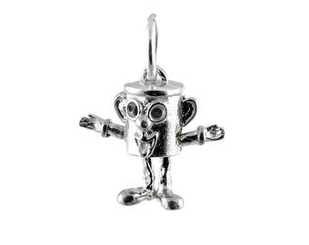 Sterling Silver Movable Dusty Bin Charm For Bracelets