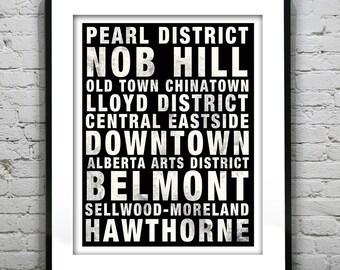 Portland Oregon Subway Poster Print Art Skyline OR Typography Print