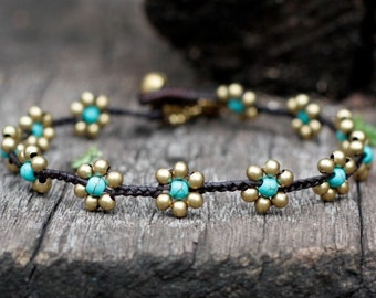 Turquoise Flower Braided Brass Anklet