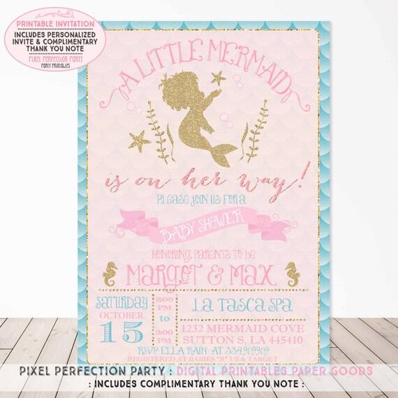 Mermaid Baby Shower Invitation Aqua Pink Gold Sparkle Baby
