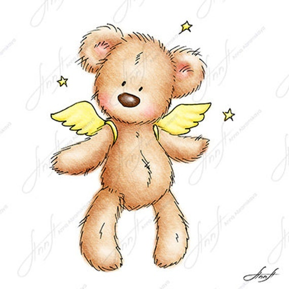 The Drawing Of Cute Teddy Bear With Wings And Stars Printable