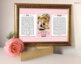 Wedding Vow Art, Framed Wedding Vows, Wedding Vow Keepsake, Wedding Vow Framed, Wedding Vow Print
