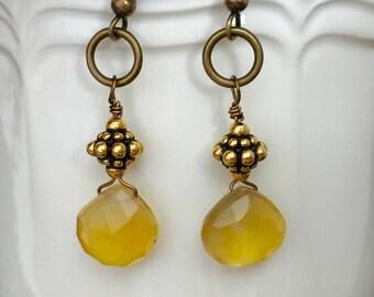Honey Chalcedony Earrings, Gemstone Drop Earrings, Honey Yellow Chalcedony Briolettes, Wire Wrapped In Vintage Bronze