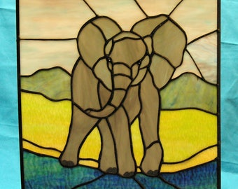 African Elephant in Stained Glass  Suncatcher panel