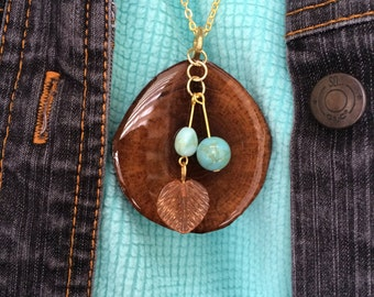 Wood Slice Necklace Lacquer Boho Walnut Wood Dangle Bead Pendant Medallion