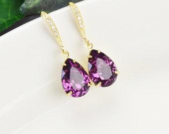Amethyst Earrings - Swarovski Earrings - Purple Earrings - Crystal Teardrop Earrings - Bridesmaids Earrings - Bridesmaid Jewelry - Bridal